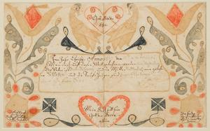 (Lot 495) – Wythe County, Virginia folk art watercolor and ink on paper fraktur birth and baptismal record (c.  1819) attributed to the Wild Turkey artist.