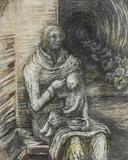 Herny Moore's Shelter Drawing: Seated Mother and Child, sold for 634,850 at Bonhams.