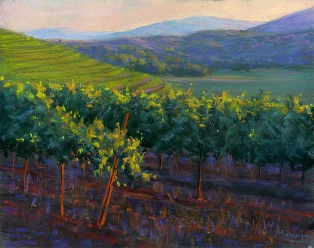 "Above Sonoma Valley by Joe Mancuso, 11""x14"" pastel"