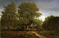 Farm in the Landes (House of the Garde), painted between 1844 and 1867, by Pierre Étienne Théodore Rousseau. Oil on canvas, 25 1/2 x 39 in. Sterling and Francine Clark Art Institute, Williamstown, Massachusetts