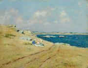 Clark Voorhees (1871-1933), The Cliff Walk, Newport, RI c.  1916, Oil on board, 18 x 24 inches.  Signed lower right.