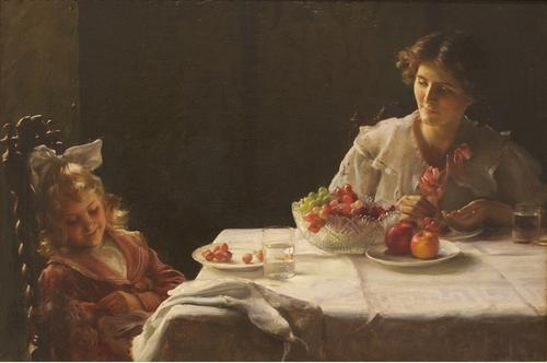 Charles Courtney Curran (American, 1861-1942) Breakfast for Three, 1909.  Oil on canvas, 20 x 30 inches.  Gift of the West Foundation in honor of Gudmund Vigtel 2010.117.  High Museum of Art.