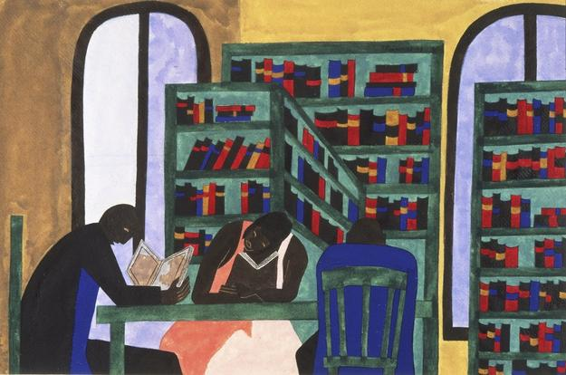 The Libraries Are Appreciated, 1943, by Jacob Lawrence (Philadelphia Museum of Art: The Louis E.  Stern Collection, 1963-181-40)