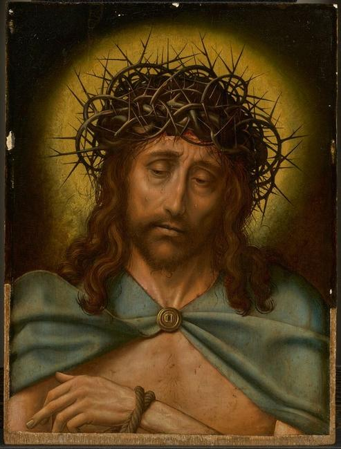 Christ as the Man of Sorrows, 1520-30, oil on panel, 19 ½ x 14 ½ inches, Quentin Metsys (Netherlandish, 1465 or 1466 – 1530) [pre-conservation]