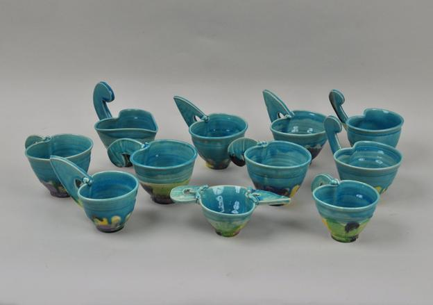 Betty Woodman ceramic cups