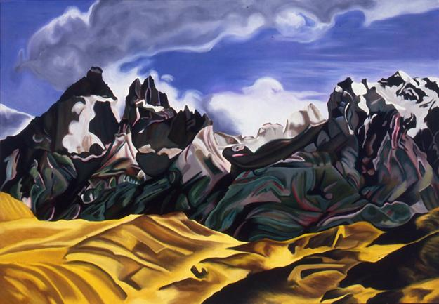 Jan Aronson, Patagonian Landscape, The Horns 1990, oil on canvas, 40 x 58 in.