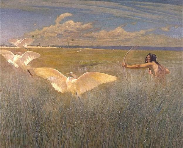 George de Forest Brush, Indian Hunting Cranes in Florida, 1887, oil on canvas.  Jordan Schnitzer Museum of Art, University of Oregon, gift of Mr.  and Mrs.  Harold F.  Wendel.