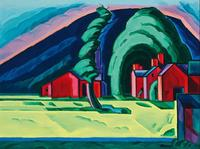Oscar Floranius Bluemner (1867-1938), Illusion of a Prairie, New Jersey (Red Farm at Pochuck), 1915, sold for an artist record of $5.3 million at Christie's on Nov.  30.