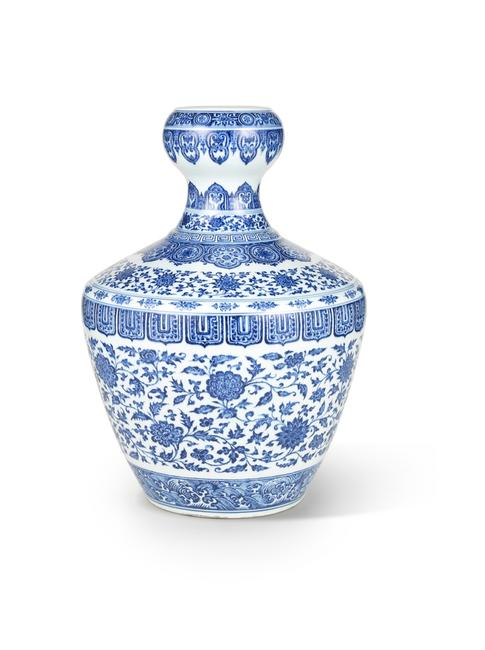 An exceptionally rare 18th century vase from the Yongzheng period sold Nov.  27, 2014 for HK$76,280,000 (US$9.8) at Bonhams Hong Kong, defying an estimate of HK$6,000,000-8,000,000.  The beautiful blue and white vase was made during the short reign of Yongzheng Emperor (1722-1728), which was a period of artistic innovation.  After frenzied bidding, the vase was bought by a private collector from mainland China.
