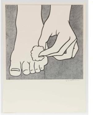 "Roy Lichtenstein, ""Foot Medication Poster"", 1963.  Offset lithograph on white wove paper.  Sheet: 22 15/16 x 16 15/16 in.  58.3 x 43 cm.  © Estate of Roy Lichtenstein"