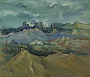 Rex Slinkard (U.S.A., 1887–1918) Tehachapi, c.  1914.  Oil on canvas, 32 x 37 inches.  Bequest of Florence Williams, Cantor Arts Center, Stanford University, 1955.1034