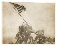 Joe Rosenthal, American (1911–2006), Old Glory Goes Up on Mount Suribachi, Iwo Jima, February 23, 1945, gelatin silver print, the Museum of Fine Arts, Houston, The Manfred Heiting Collection, gift of the Kevin and Lesley Lilly Family.  © AP / Wide World Photos