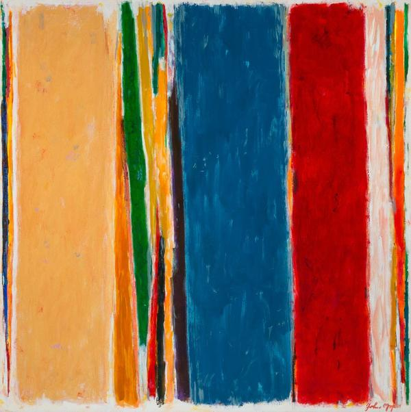 John Opper (American, 1908-1994), Untitled Abstraction, 1981, signed and dated, oil on canvas, 44 x 44 inches.  Est.  $4,000-6,000