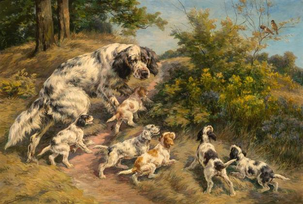 Edmund Henry Osthaus (American, 1858-1928), The First Lesson - A Setter and Her Six Pups.  Est.  $30,000-50,000.