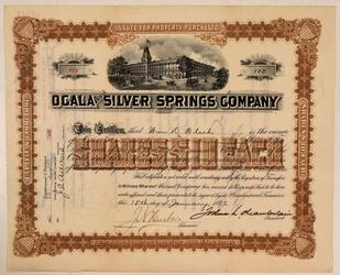 Stock certificate for Ocala & Silver Springs Co.  (Ocala, Fla.), dated Jan.  18, 1892 for 100 shares, issued to William Black and signed by Civil War hero Joshua Chamberlain (est.  $1,000-$1,500).