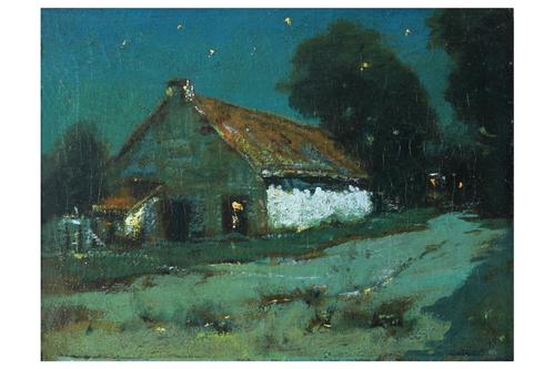 Dark Barn or Barn at Night, by Charles Rollo Peters (1862-1928), oil on canvas, City of Monterey Charles Rollo Peters III Collection.