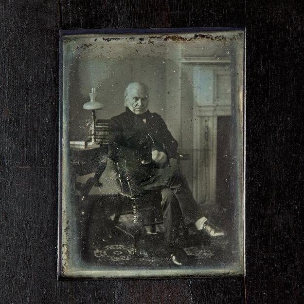 John Quincy Adams photograph, 1843, by Philip Haas.  The National Portrait Gallery purchased the portrait for $360,500 at the Sotheby's photographs auction held Oct.  5 in New York City.
