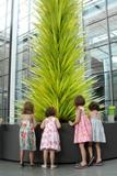 Young fans of the Lime Green Icicle Tower (l-r) Jane Caputo, Maisie Fitzpatrick, Audrey Fitzpatrick, and Allison Caputo, donated some of their piggy-bank money to the sculpture acquisition fund at the Museum of Fine Arts, Boston.
