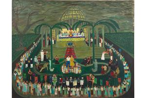 Ralph Fasanella, McCarthy Era Garden Party, 1954.  Oil on canvas, 40 x 50 in.  Andrew Edlin Gallery, New York, and the Estate of Ralph Fasanella.
