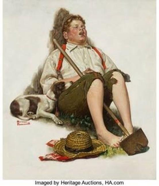 Norman Rockwell's endearing Lazybones (Boy Asleep With Hoe), also known as Taking a Break, is expected to sell for more than $1 million in Heritage Auctions' Nov.  3 American Art Auction in Dallas.