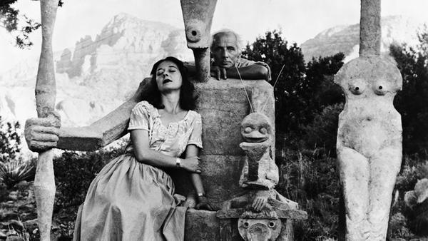 Detail of photograph: Dorothea Tanning and Max Ernst with his sculpture, Capricorn, 1947.  © John Kasnetsis