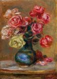 PIERRE-AUGUSTE RENOIR (French, 1841-1919) Le Bouquet, 1910.  Oil on canvas.  17 x 12-1/2 inches (43.2 x 31.8 cm).  Signed lower left: Renoir.  Two paste-down labels on stretcher bars bearing stock numbers: no.  4367 and no.  10401.