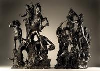 Bronzes by Francesco Bertos (Italian, 1693-1739) representing Livy's legend of the Heroism of Marcus Curtius, 81 cm high, (left) and Pliny's tale of the Fable of Dirce, 74 cm high, (right).