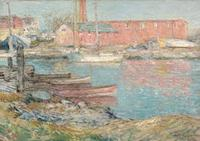 Childe Hassam (1859-1935) The Red Mill, Cos Cob, 1896.  Oil on canvas.  17 ¼ x 24 ¼ inches