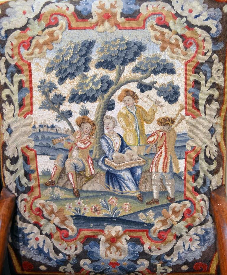 Vandeuren Galleries from Los Angeles will exhibit two solid walnut wood chairs, circa 1690, Louis XIV, covered with 17th century tapestry at the San Francisco Fall Antiques Show