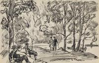 Gifford Beal (1879 - 1956) By the Lake, Central Park, circa 1930, ink and graphite on paper, 5 x 8 1/2 inches (image).  10 x 8 1/2 inches (sheet).  25.4 x 21.6 cm (sheet).