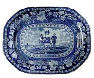 Platter, earthenware with blue printed design depicting the Arms of the State of Delaware, made by Thomas Mayer, Staffordshire, 1826-30, l.16½ in, w.  13 in.  Courtesy Winterthur Museum.  Bequest of Henry Francis du Pont.  1958.1847.