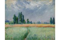 Claude Monet, Champ de blé.  Signed and dated Claude Monet 81 (lower left).  Oil on canvas, 65.5.  by 81.5 cm.  Painted in 1881.  Est.  $5/7 million.