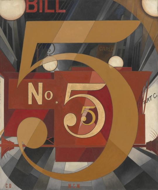 Charles Demuth (American, 1883–1935) I Saw the Figure 5 in Gold, 1928.  Oil, graphite, ink, and gold leaf on paperboard (Upson board), 35 1/2 x 30in.  (90.2 x 76.2cm).  The Metropolitan Museum of Art, Alfred Stieglitz Collection, 1949 (49.59.1)