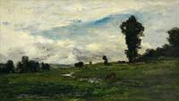 "This lovely, yet large, bucolic oil on panel titled, ""Figures and Cows in a Country Landscape (1874),"" by Charles Daubigny (1817-1878) will be available for $40,000 to $60,000."