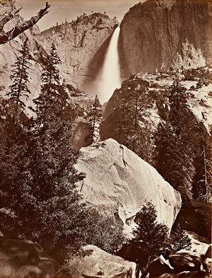 Carleton E.  Watkins, Upper Yosemite Fall, Yosemite, 1865–66.  Albumen silver print.  Lent by Department of Special Collections, Stanford University Libraries