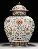 A large doucai, 'Lotus and Bats' jar and cover, Qianlong seal mark and period, est.  £300,000-500,000.