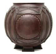 An important American copper urn designed by Frank Lloyd Wright, estiamted at $400,000-600,000) from the Edward C.  Waller house in River Forest, Illinois, sold for $772,000 on Monday at Leslie Hindman Auctioneers.