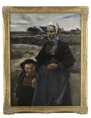 "A painting titled ""Rentrant de L'eglise Penmarc'h"" by Elizabeth Nourse is estimated to bring anywhere between $30,000/50,000."