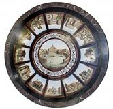 Large and important Italian micro-mosaic table top, with center panel of St.  Peter's Basilica.