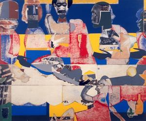 Romare Bearden.  Feast, 1969.  Collage on plywood, 21 x 25 inches.  DC Moore.