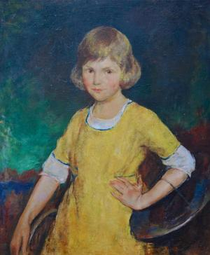 Charles Webster Hawthorne (American, 1872-1930) Girl in the Yellow Dress oil on board 30 x 25 in.  unsigned.