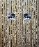 Anna Ostoya.  Lee No.  1.  2013.  Pigmented inkjet print, gold leaf, and newspaper on canvas, 24 x 20″ (61 x 50.8 cm).  Courtesy the artist and Bortolami Gallery, New York.  © Anna Ostoya