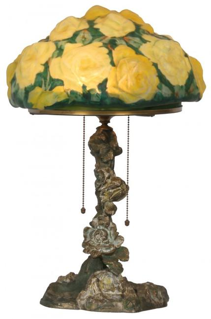 This antique Pairpoint Puffy yellow rose table lamp with 10-inch puffy shade will come up for bid Jan.  31 in Pittsfield, Mass.