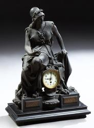Large, 19th century patinated spelter Pallas Athena figural mantel clock, 28 inches tall by 19 ½ inches wide (est.  $500-$1,000).