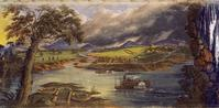 John J.  Egan, American (born Ireland), 1810–1882; Scene from Panorama of the Monumental Grandeur of the Mississippi Valley, c.1850; tempera on lightweight fabric; 90 in.  x 348 ft.; Saint Louis Art Museum, Eliza McMillan Trust 34:1953