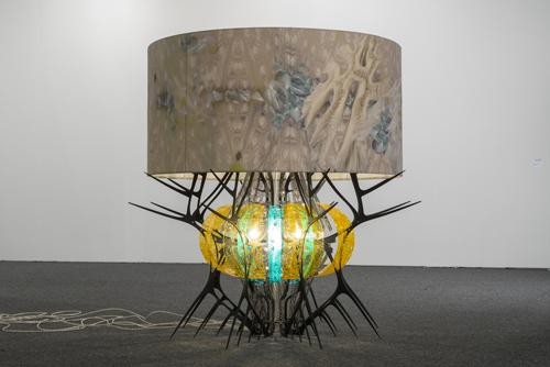 "Jorge Pardo, ""Untitled (Sea Urchin),"" 2012.  Aluminum, molded Plexiglas, canvas, electrical cords, light bulb.  SBMA, Museum Purchase with funds provided by The Museum Contemporaries and the 20th Century Art Quasi Endowment Fund."