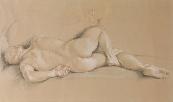 "Paul Cadmus, ""Male Nude, NM5_1965, Crayons on Hand-toned paper"