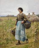 This original painting by Charles Sprague Pearce (Am., 1851-1914), titled Woman With Grapes, is expected to bring $40,000-$60,000 at the Oct.  23 sale.