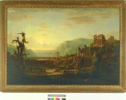 "Robert S.  Duncanson ""Time's Temple,"" 1854 34 x 59 inches, Oil on Canvas"