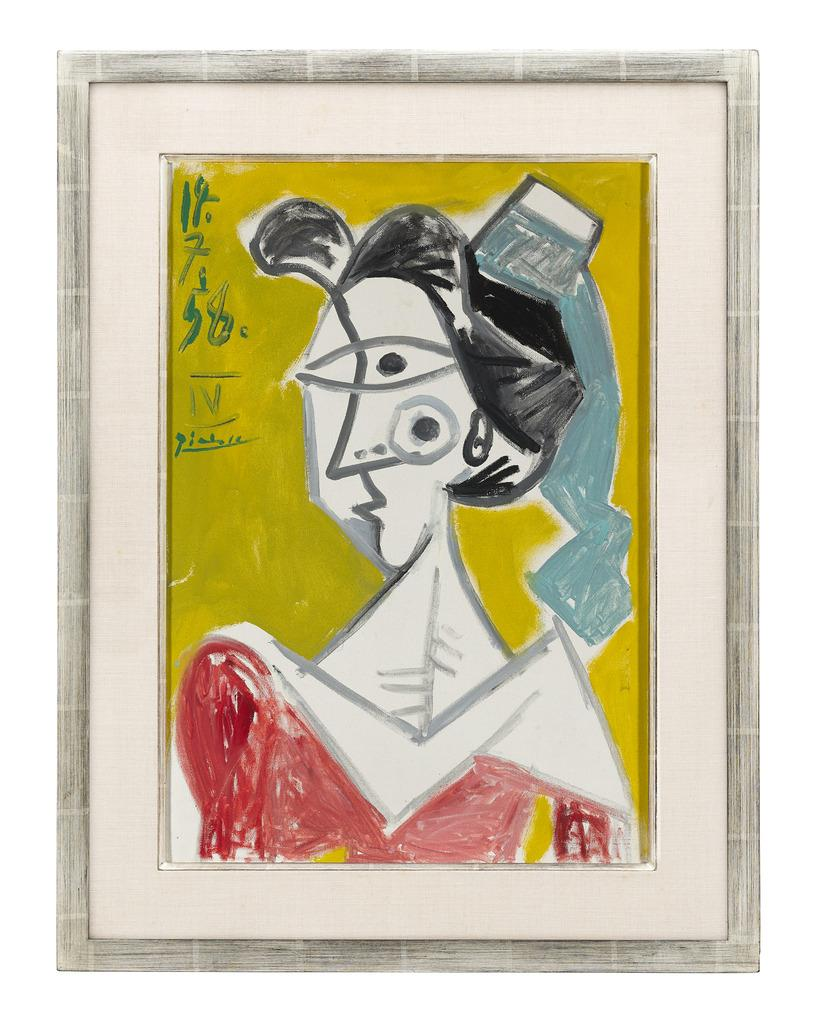 "L'Arlésienne by Pablo Picasso.  Oil on canvas.  Signed and dated "" 14.7.58 IV Picasso"" (upper left)"